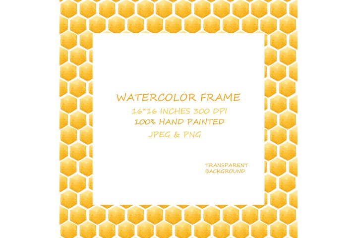 Watercolor Frames. Honey, Honeycomb Elements. Clipart.