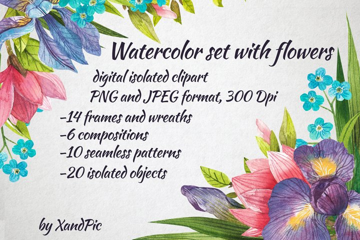 Watercolor flowers, clipart. Spring flowers