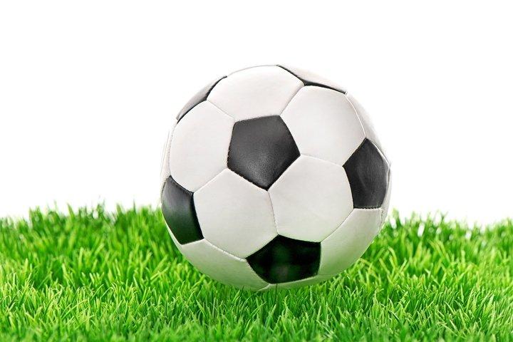 Football field Soccer ball green grass