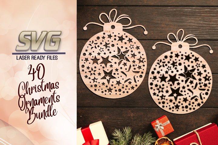 Christmas Stars Ornament Earring SVG Glowforge Files Bundle