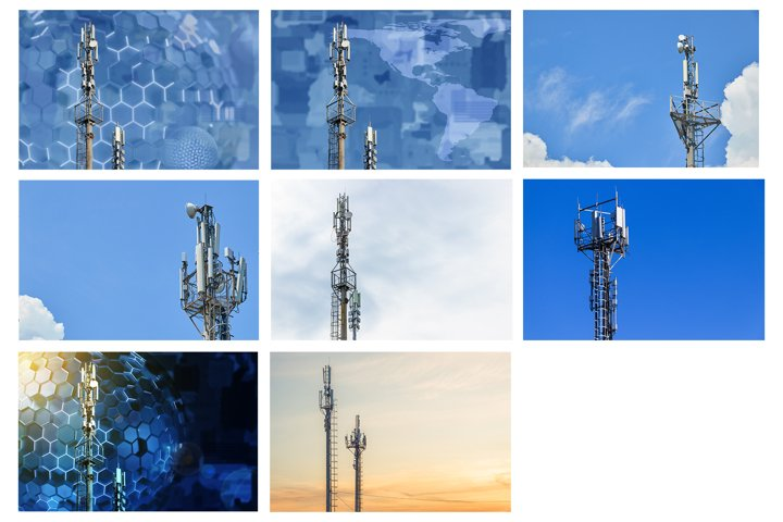Cellular towers of mobile operators.