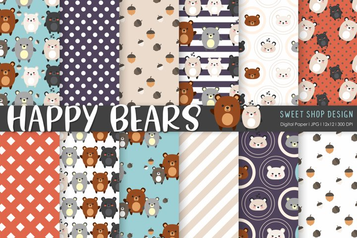 Digital Paper HAPPY BEARS, 12x12, Set of 12 Papers