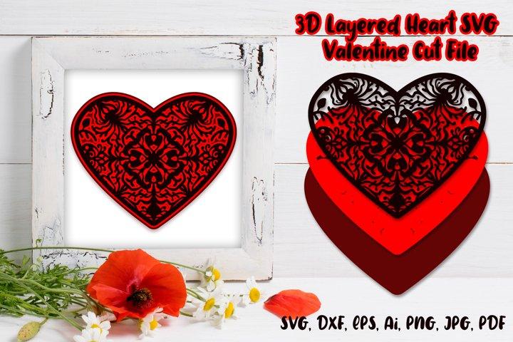3D heart SVG / 3D Layered SVG / Valentine Cut File