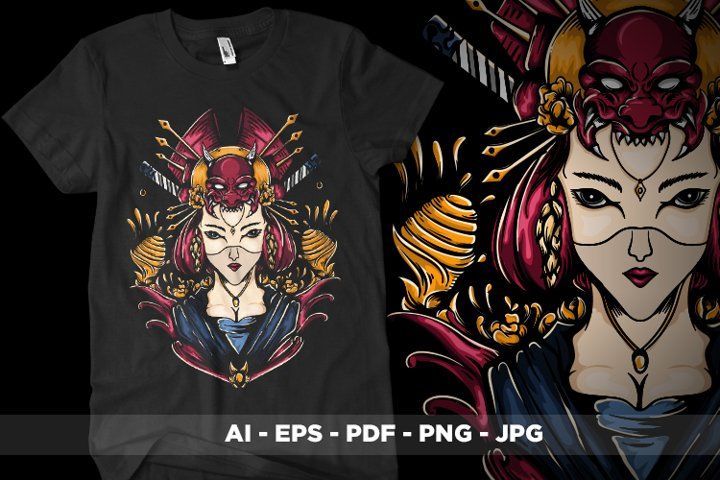 Geisha Girl illustration | Ai. Eps. Png. Jpg. Pdf