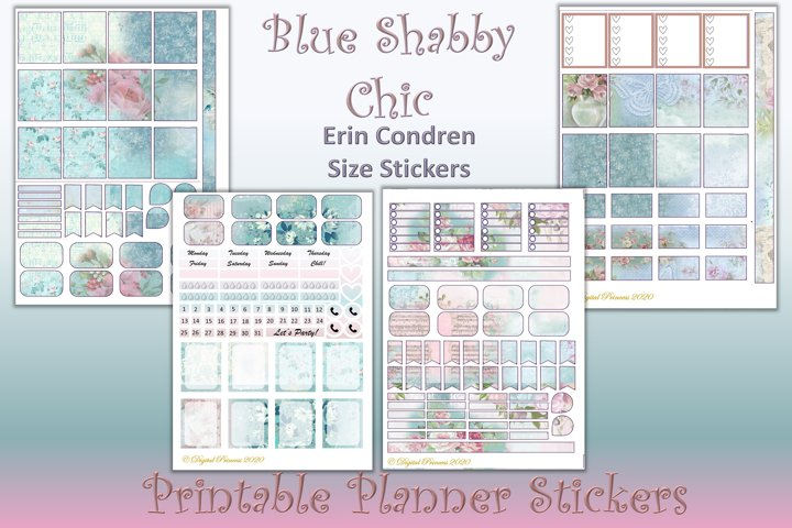 Planner Stickers Blue Shabby Chic 4 Sheets 200 stickers JPEG