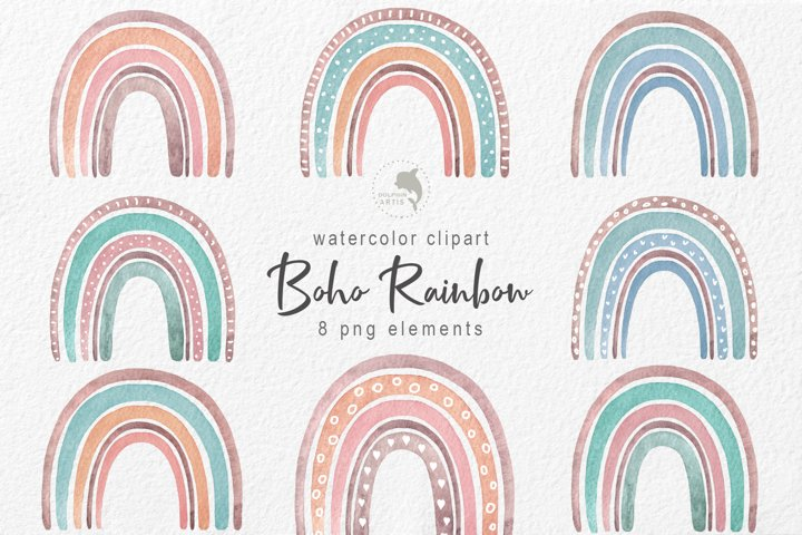 Watercolor boho rainbow