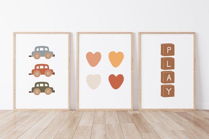 Boho Baby Wall Print, Abstract Baby Print
