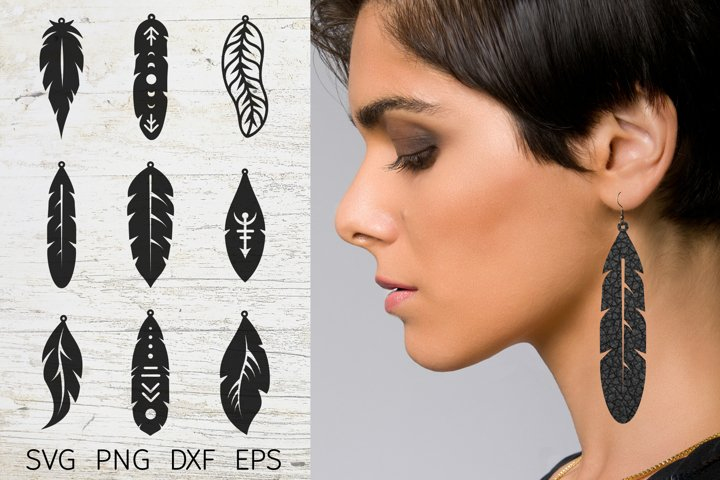 Earring svg bundle. Faux leather earring template feather.
