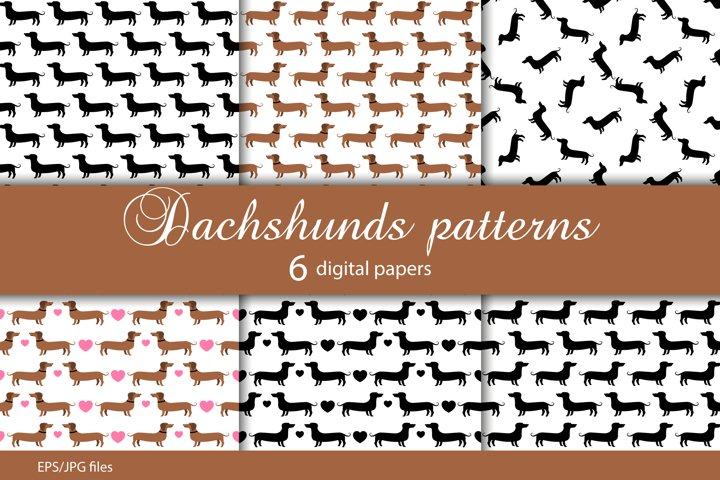 Dachshunds/cute dogs seamless patterns