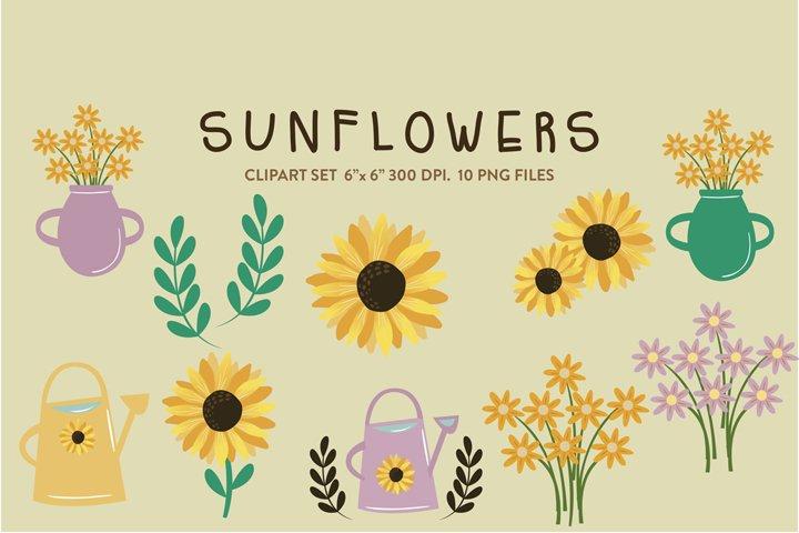 Sunflower clipart, yellow flowers, floral, vase flower
