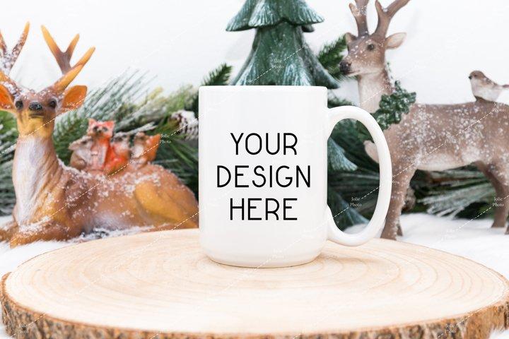 15 Oz Blank White Coffee Cup Mug Winter Mockup