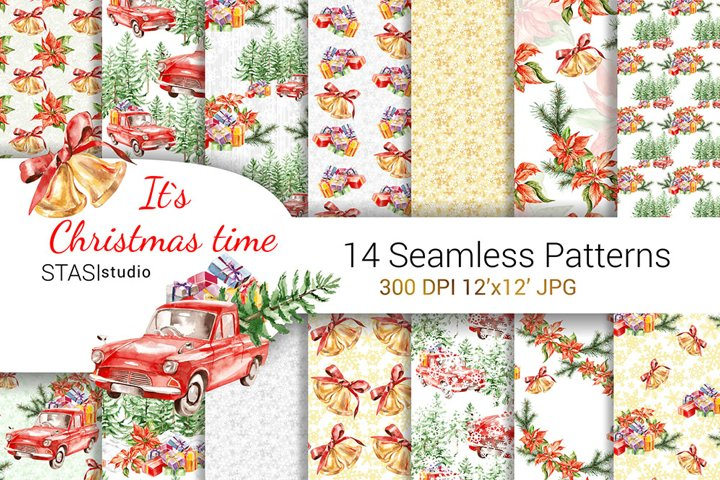 Christmas Truck Seamless Pattern Watercolor Christmas Paper