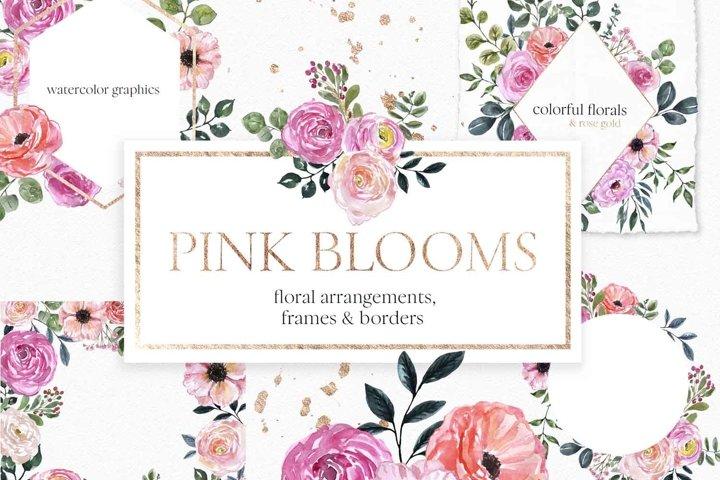 Blush pink floral Frame Frames Borders PNG Rose Gold Clipart