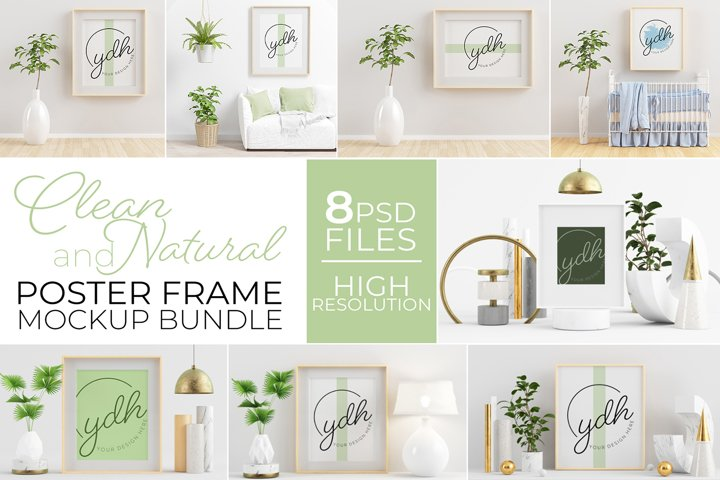 Clean and Natural Poster Frame Mockup Bundle