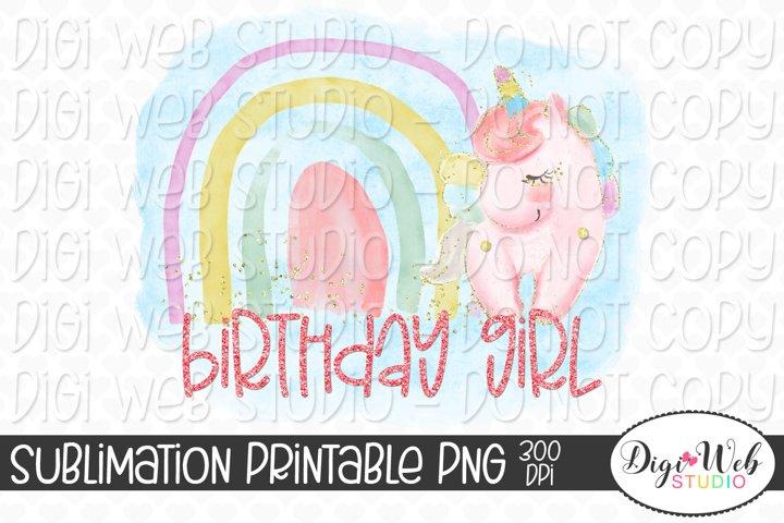 Birthday Girl Rainbow and Unicorn Sublimation Design
