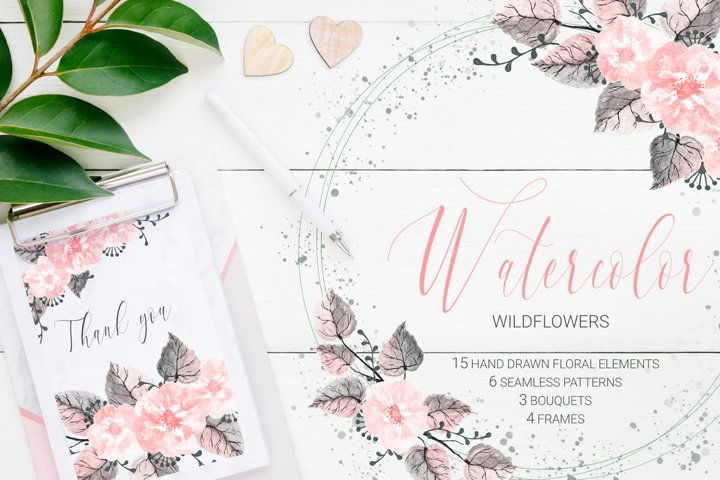 Hand Drawn Watercolor Wildflowers. Seamless Patterns. Frames