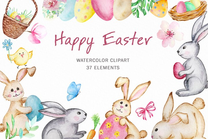 Watercolor Easter Cute bunny clipart