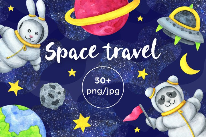 Space travel. Set of watercolor illustrations.