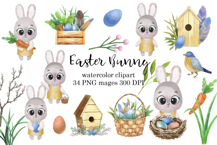 Easter Bunny Watercolor Clipart PNG