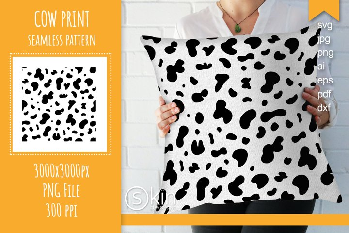 Seamless pattern with cow hide art print in vector, svg