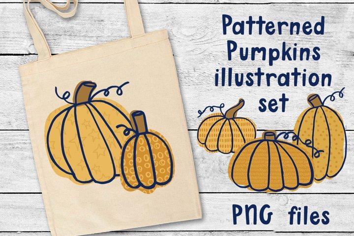 Patterned Pumpkins Illustration PNG Set