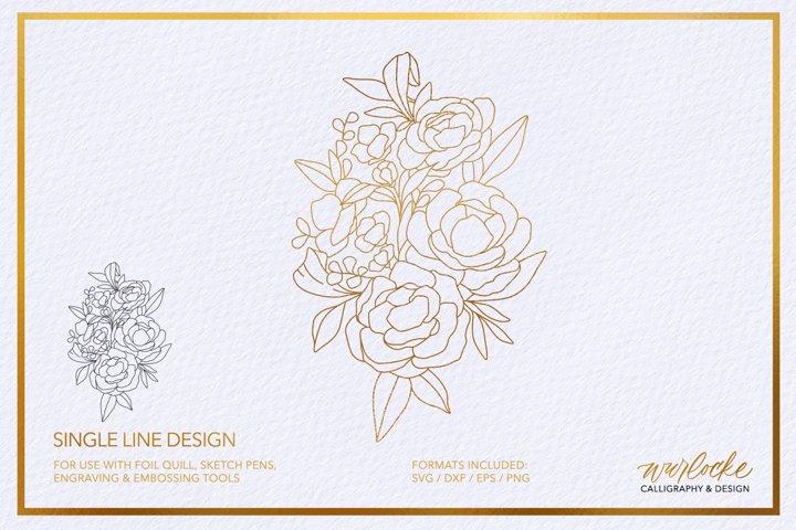 SVG Foil Quill Florals Single Line Design