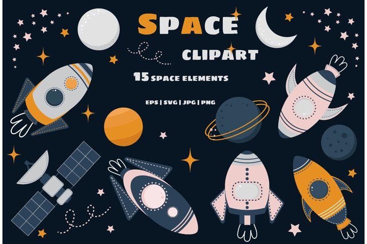 Space Rockets, Ships & Planets, stars. Clipart Set