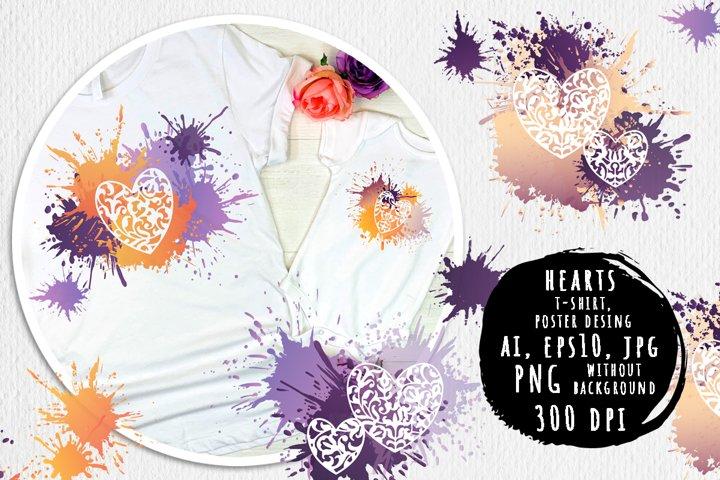 Love, romantic hearts bright prints design