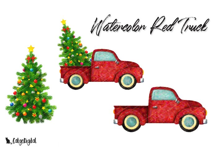 Watercolor Red Truck Christmas ClipArt