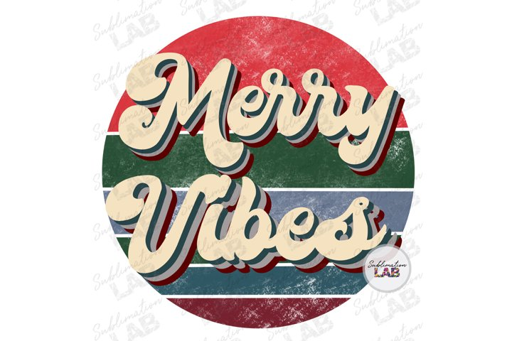 Christmas Merry Vibes Retro Circle Sublimation Downloads PNG