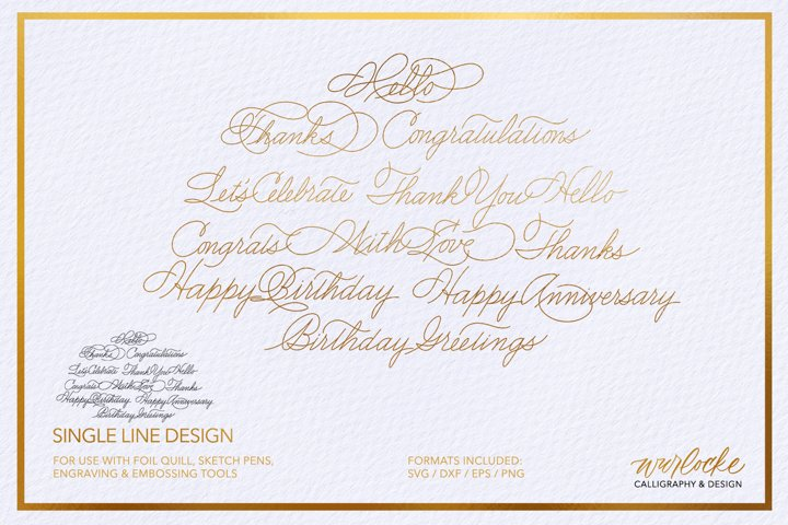 SVG Foil Quill Thank You for Service Single Line Design