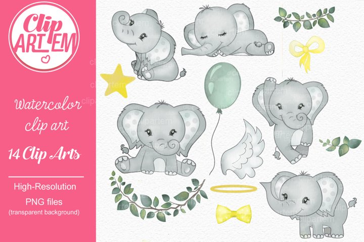 Gender Neutral Mint Elephant 14 clip art bundle unisex PNG i