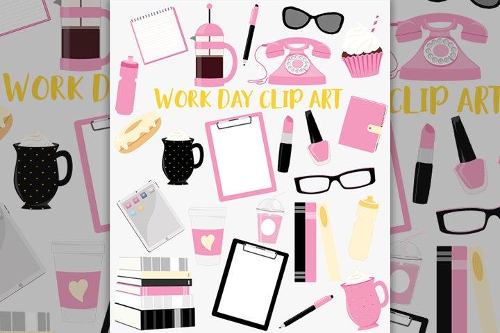 Office girl clipart set
