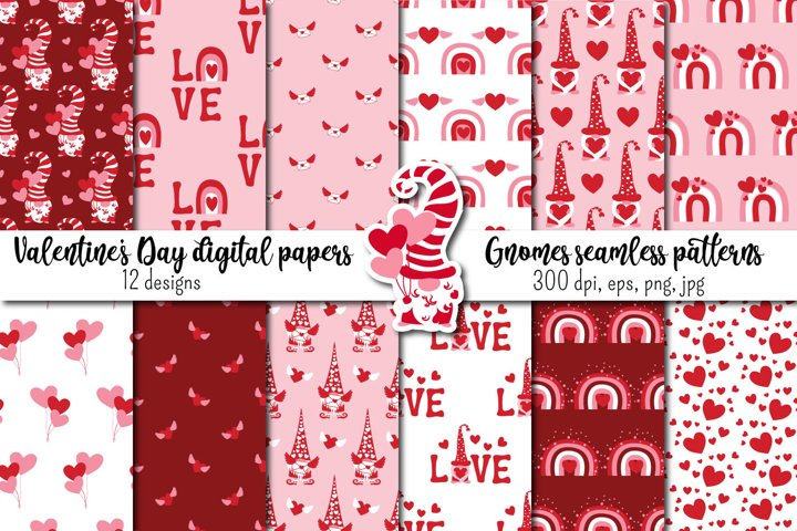 Valentines Day digital papers. Gnomes seamless patterns.