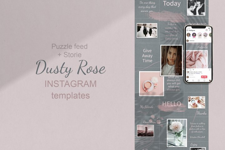 Instagram Puzzle Template. Dusty Rose