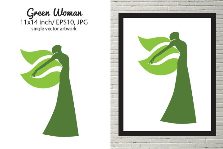 Green woman - single vector artwork