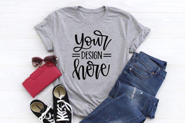Shirt Mockup Image, Bella Canva 3001 Athletic Heather Gray