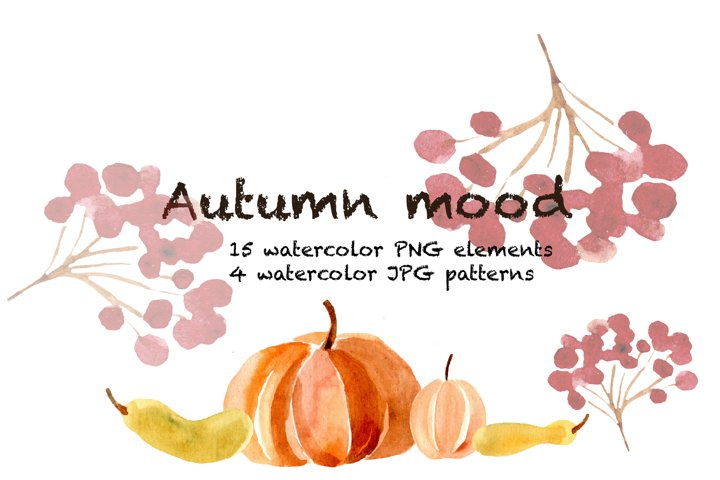 Autumn watercolor illustration, patterns leafs and pumpkins