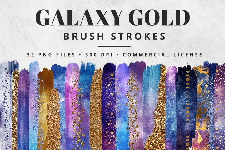 Galaxy Gold Brush Strokes