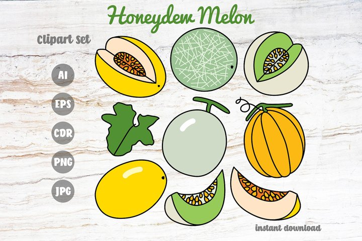 Honeydew Melon Clipart Set