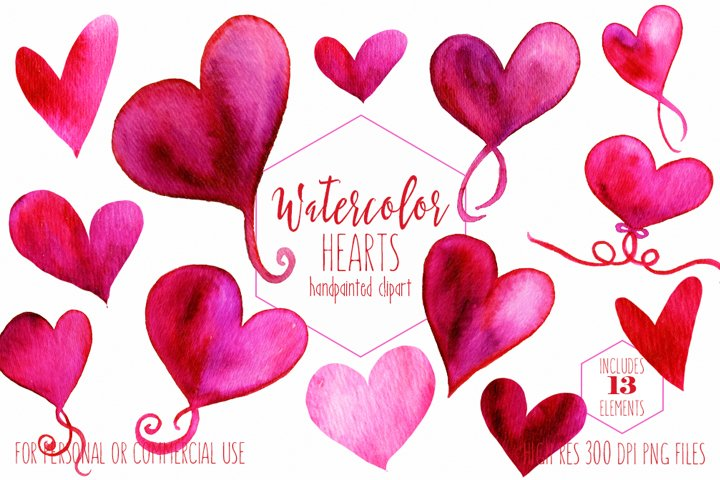 Hand Painted Watercolor Hearts Valentines Day Graphics