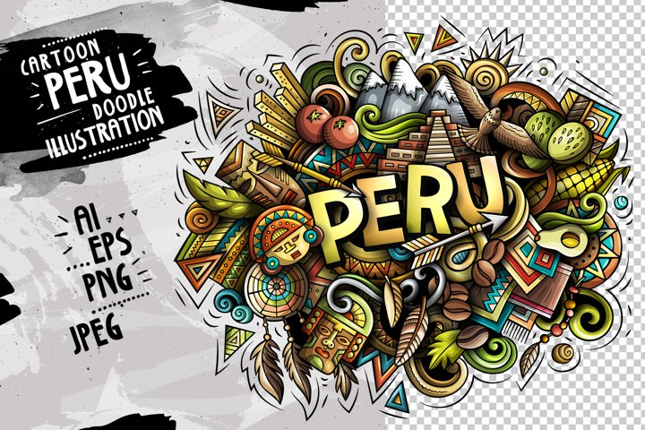 PERU Cartoon Doodle Illustration