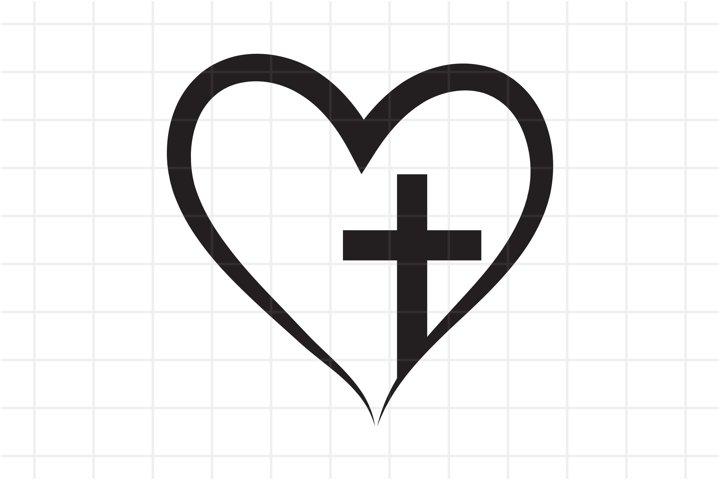 Cross heart SVG cut file. Christian vector, Faith Jesus.