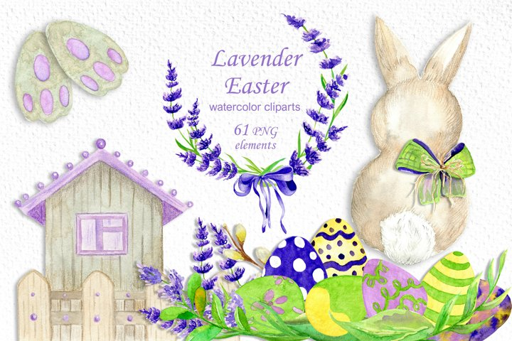 Watercolor Easter lavender clipart, Bunny PNG, flowers