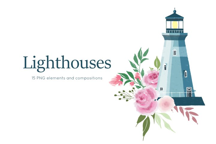 Lighthouses and floral compositions, Seaside clip art, PNG
