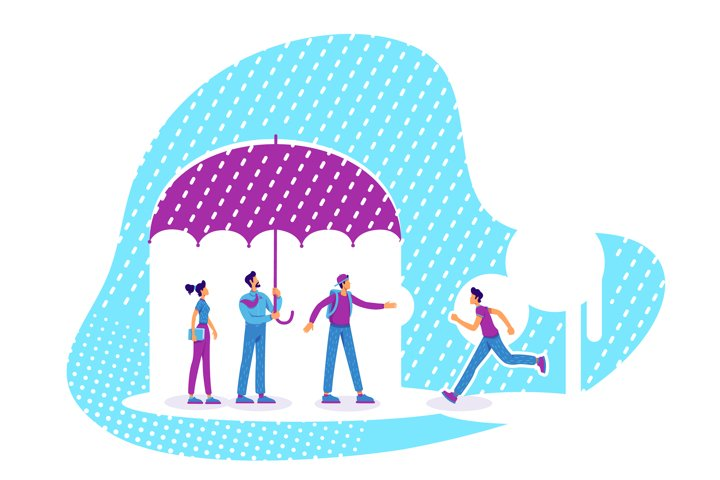 Mentor and mentees flat concept vector illustration