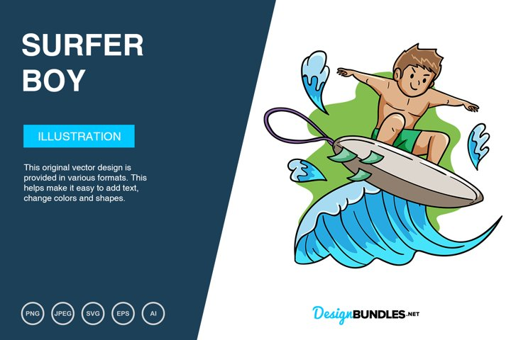 Surfer Boy Vector Illustration
