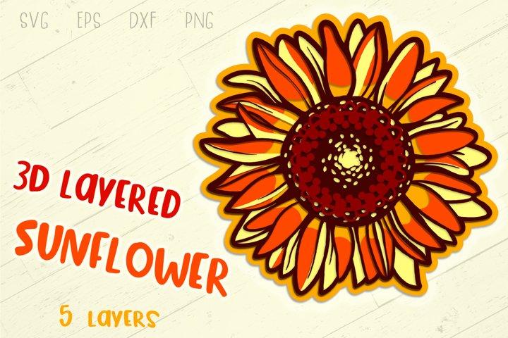3D Layered Sunflower - 5 SVG cut files