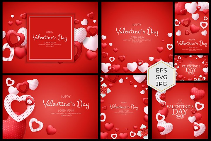 Valentines Day backgrounds for postcards, booklets,