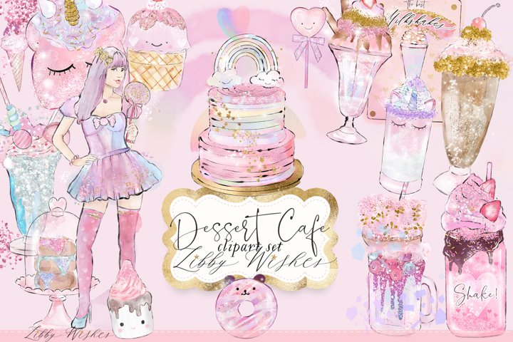 Dessert cafe cake milkshake watercolour clipart illustration